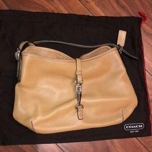 Tan leather Coach shoulder bag